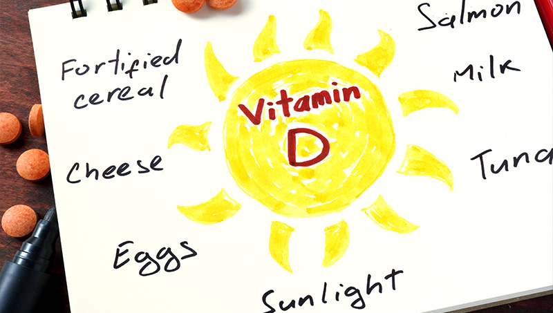 Diagram of foods vitamin d rich to fight depression.